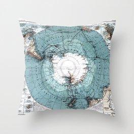 Antarctica Map Throw Pillow