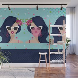 Girl Bubble Gum Wall Mural
