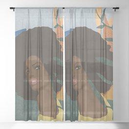 Afro lady #art print#society6 Sheer Curtain