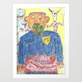 Cops and Cheese Art Print