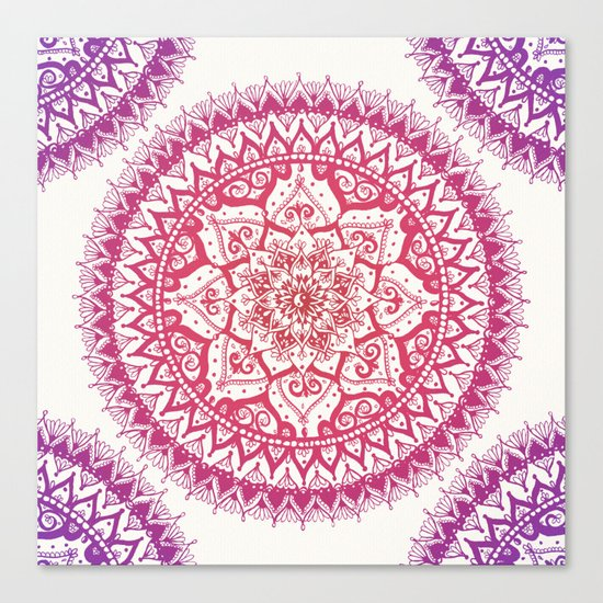 Yin Yang Mandala in Tropical Sunset Canvas Print