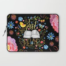 I Just Want To Read - Black Floral Laptop Sleeve