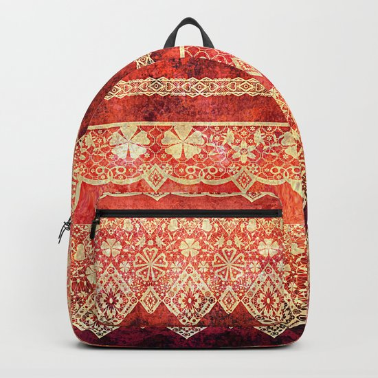 Retro . Vintage lace on a red background . Backpack