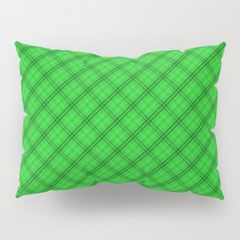 Monster Green and Black Halloween Tartan Check Plaid Pillow Sham