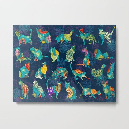 Colorful Christmas cats Metal Print