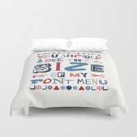 font Duvet Covers featuring Font Menu by Word Quirk