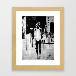 City walker bw Framed Art Print