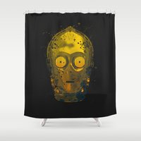 c3po Shower Curtains featuring C3PO Splash by Sitchko Igor