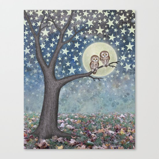 northern saw whet owls under the stars Canvas Print