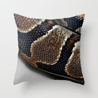 monty python Throw Pillows featuring Python by Elaine C Manley