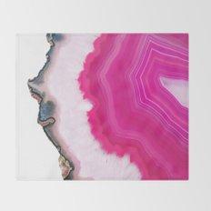 Pink Agate Slice Throw Blanket