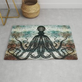 Octopus In Stormy Water Rug