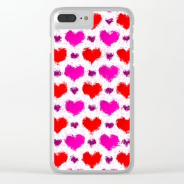 Pretty Pink and Red Painted Love Hearts Clear iPhone Case