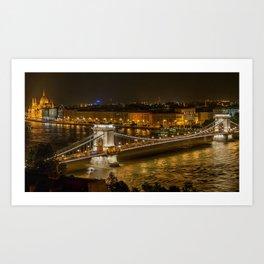 Budapest Bridge Water Chain bridge Art Print