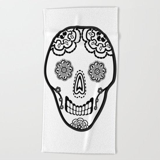 Black and White Sugar Skull (Calavera) Beach Towel