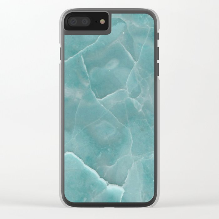 Ice Green Marble Clear iPhone Case