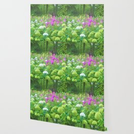 Annabella Hydrangeas and Purple Garden Landscape Wallpaper
