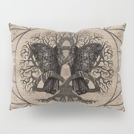 Tree of life - with ravens wooden texture Pillow Sham