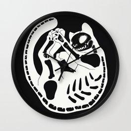 Cat Skeleton Gothic Skull And Bone Art Wall Clock
