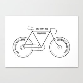 You can't buy happiness buy you can buy a bike :)  Canvas Print