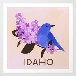 Idaho State Bird and Flower Art Print