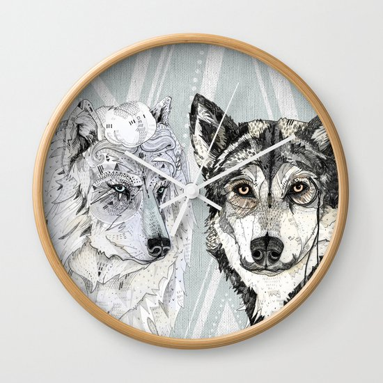 Wolf Family Portrait Wall Clock