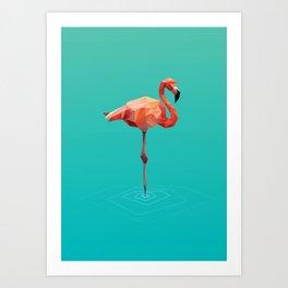 Poly Flamingo Art Print