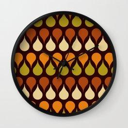 60s, 70s, Vintage geometric patterns, Brown drops, yellow drops Wall Clock