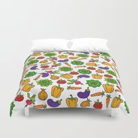 vegetables Duvet Covers featuring Vegetables by Alisa Galitsyna