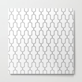 Moroccan Quatrefoil Lattice Pattern 930 Grey Metal Print