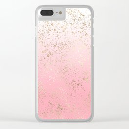 Pink White Ombre Speckled Gold Flakes Clear iPhone Case