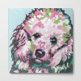 fun poodle Dog portrait bright colorful Pop Art painting Metal Print