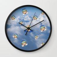 emoji Wall Clocks featuring Heavenly Emoji by jajoão