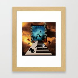 Music, piano with birds and butterflies Framed Art Print