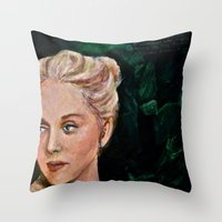 sylvia plath Throw Pillows featuring Sylvia by alison dillon art