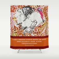 turkey Shower Curtains featuring Turkey Psalm by Canis Picta