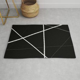 Black with White Lines Rug