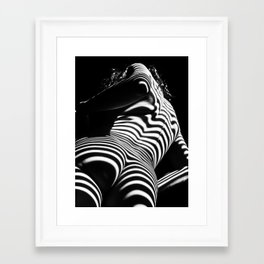 2070-AK Woman Nude Zebra Striped Light Curves around Back Butt Behind Naked Art Framed Art Print