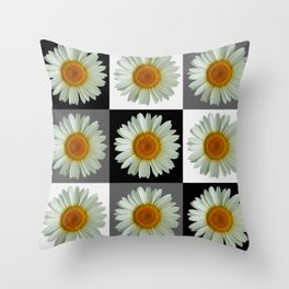 Nine Daisies Pop Art Throw Pillow