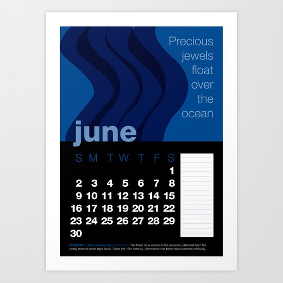 2013 Pigment to Pantone Calendar – JUNE Art Print