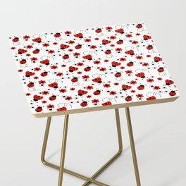 Red Ladybug Floral Pattern Side Table