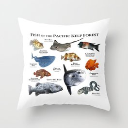 Fish of the Pacific Kelp Forest Throw Pillow