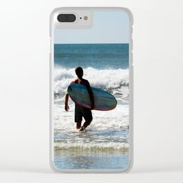 Surfer Dude At The Beach Clear iPhone Case