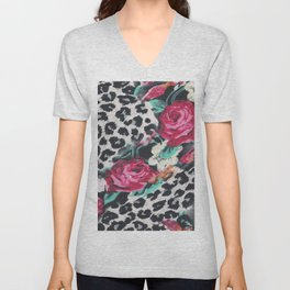 Vintage black white pink floral cheetah animal print Unisex V-Neck