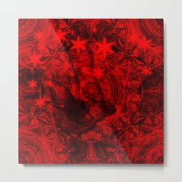 Butterfly and fractal in black and blood red Metal Print