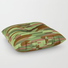 Trendy Green and Brown Camouflage Spheres Floor Pillow