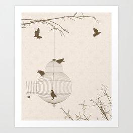 Vintage birds background Art Print