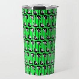 Guitars (Tiny Repeating Pattern on Green) Travel Mug
