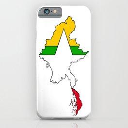 Myanmar Burma Map with Flag #2 iPhone Case