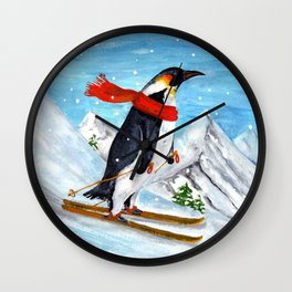 Penguin Alpine Skiing Wall Clock